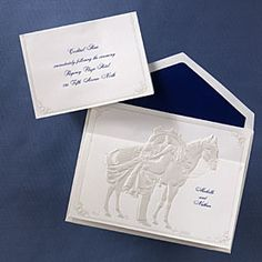 Western Themed Wedding Ideas - Western Couple with Horse (Invitation Link - occasionsinprint....