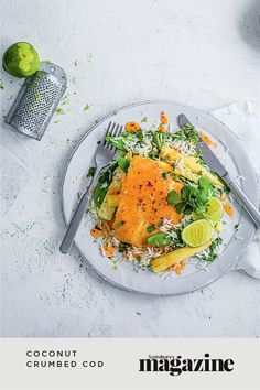 This speedy and healthy midweek meal takes just 25 minutes. Desiccated coconut creates a slightly sweet crumb for the fish, served with rice and chilli sauce. Get the Sainsbury's magazine recipe