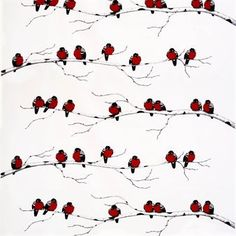 Create the ultimate Christmas feel with the lovely Serenad fabric by Arvidssons Textil, designed by Mia-Lotta Arvidsson Mars. The fabric is made of fine cotton with a charming pattern featuring bullfinches with their characteristic red chests. Use the fabric as curtain or why not make your own cushion covers