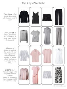 4 by 4 Wardrobe for warm weather in black, white, grey and pink