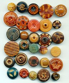 Antique Vintage Tagua Nut Buttons - 40 Carved Dyed Whistles- ca. 1900-1910