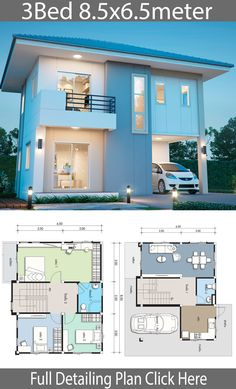 House design plan with 3 bedrooms. House design plan with 3 bedrooms. Style ModernHouse description:Number of floors 2 storey housebedroom 3 roomstoilet 2 roomsmaid's room Minimal House Design, Modern Small House Design, Simple House Design, House Front Design, Contemporary House Plans, Duplex House Plans, Bedroom House Plans, Dream House Plans, Small House Plans