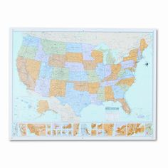 US Map With Pins DIY Kit United States Push Pin Map Wall Art - Us map dry erase