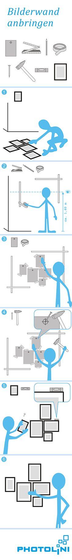 Schritt für Schritt zur eigenen #Bilderwand. Probiere mögliche Anordnungen der Bilderrahmen am besten zuvor auf dem Fußboden aus. Papierschablonen helfen beim Anbringen und Ausrichten deiner Bilderwand. Die Anleitung als Download findest Du auf http://bilderrahmen.photolini.de