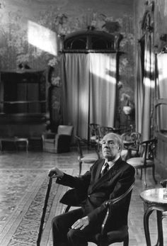 Argentine Poet Jose Luis Borges in the Basile Room of Villa Igea in Palermo [photo by Francesco Scianna]
