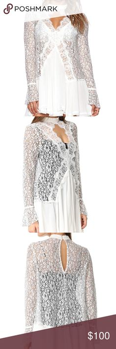NW0T FREE PEOPLE 'telltale' embroided lace tunic Details & Care A luminous tunic styled for a memorable entrance features an embroidered lace bodice with an elegant high-neck, eyelash-trimmed front keyhole and boho-chic bell sleeves. A pleated handkerchief skirt in matte white completes the eye-catching look. Unlined. Button closure at back neck. 36% rayon, 33% polyester, 31% nylon. Machine wash cold, line dry. Free People Tops Tunics