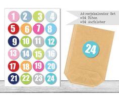 "www.papierbuedchen.de - DIY Adventskalender \"" Tüten & Aufkleber \"" (K30)"