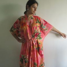 Peach Big Floral Nursing Maternity Hosptial Gown by silkandmore
