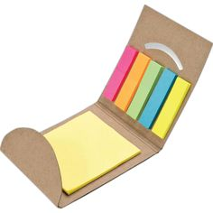 "Sticky flag and note set with recycled paper cover, 5 flag colors - 20 flags per color, 3"" x 3"" light yellow note pad with 20 sheets.(Sticky notes and flags are made of new material)."