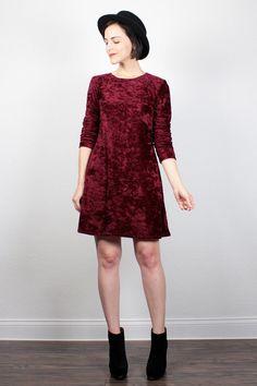 Vintage 90s Dress Burgundy Oxblood Red Crushed Velvet Dress Babydoll Dress 1990s Dress Mini Dress Soft Grunge Dress Goth Dress M Medium L by ShopTwitchVintage #1990s #90s #vintage #etsy #velvet #babydoll #soft #grunge #softgrunge #dress