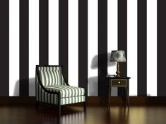 Black And White Wallpaper, Striped Wallpaper, Master Bedroom, Stripes, Chair, Interior, Bedroom Ideas, Collage, Wallpapers