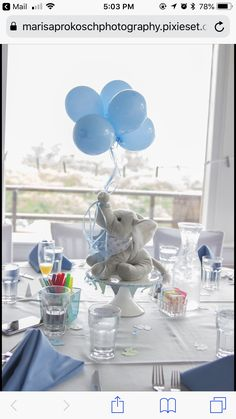 Easy and simple DIY decoration idea for a boy's Blue Elephant baby shower theme. - Easy and simple DIY decoration idea for a boy's Blue Elephant baby shower theme…. Elephant Baby Shower Centerpieces, Elephant Baby Shower Cake, Baby Shower Table Centerpieces, Baby Shower Decorations For Boys, Boy Baby Shower Themes, Baby Boy Shower, Baptism Centerpieces, Bottle Centerpieces, Elephant Theme