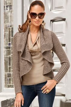 I like how this looks in the picture but have never worn anything like it. Would need to try it on.  Boston Proper Draped cable cardigan #bostonproper