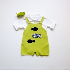A limegreen overalls with fishes by tenderblue on Etsy    ADORABLE BABY BOY OUTFIT!