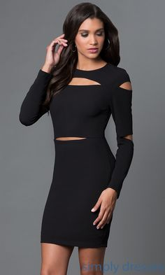 Dresses, Formal, Prom Dresses, Evening Wear: Long Sleeve Cut Out Party Dress