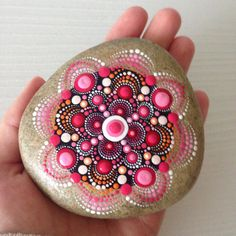 Big Red Dot Art Mandala Painted Stone Fairy by CreateAndCherish