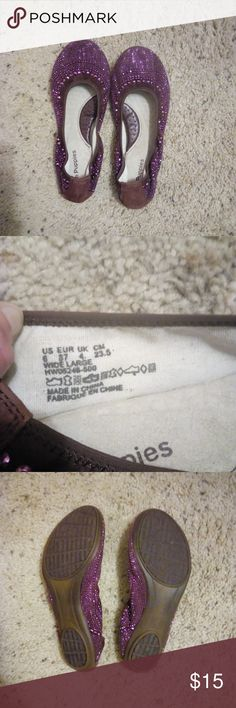 Hush Puppies Purple Sparkle Flats New! Worn once around the house to try them out. These sparkle purple flats have rows of sequences that are all in tact.  They are beautiful and I love them, but they are too wide for my feet. Size 6 wide width. Comes from a smoke and pet free home. Hush Puppies Shoes Flats & Loafers