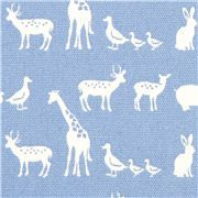 baby blue oxford fabric with small animals from Japan