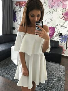 Off Shoulder Pure Color Short Sleeves Sexy Short Dress