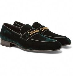 dba2426f14e87 TOM FORD LEEDS CHAIN-TRIMMED VELVET LOAFERS.  tomford  shoes    Mensoutfits
