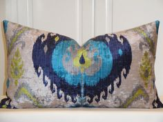 VELVET Decorative Pillow Cover - IKAT in Turquoise Lime Navy Blue - Natural Tan - EURO Sham - Accent Pillow - Sofa Pillow by TurquoiseTumbleweed on Etsy https://www.etsy.com/listing/203286676/velvet-decorative-pillow-cover-ikat-in