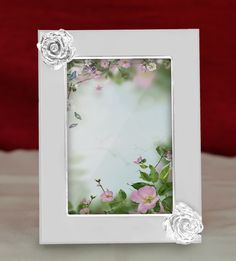 photo frame 2 flowers unique silver shining design with rose embedded shapes at two