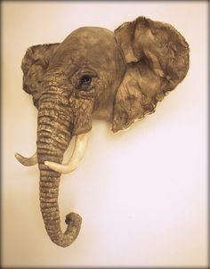 Elephant fabric trophy head faux taxidermy by winding on Etsy