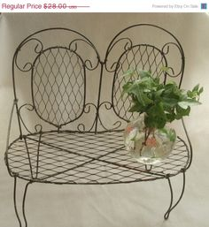 Vintage Wire Doll Love Seat Doll Bench Bistro Seat
