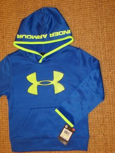 UNDER ARMOUR  UA  BOY'S   HOODIE  SIZE 4  BIG  LOGO  BLUE  SWEATSHIRT  NWT #UnderArmour #Hoodie