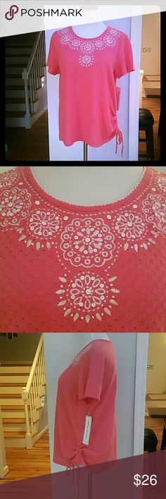 NWT ALFRED DUNNER TOP NWT Alfred Dunner Eyele Crochet side-Tie Top Color : Peony Size : Medium  Materials : 63% POLYESTER  34% COTTON  3% SPANDEX Alfred Dunner Tops Tees - Short Sleeve