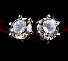 14K White Gold Finish 3Ct Round Cut Simulated Moissanite Solitaire Stud Earrings | eBay Moissanite Diamonds, Swarovski, White Gold, Stud Earrings, Jewelry, Ebay, Jewlery, Jewerly, Stud Earring