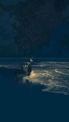 Couple at night next to the sea illustration art - How to Start a Drawing: 5 Methods for Rookies He… in 2020 Anime Scenery Wallpaper, Wallpaper Backgrounds, Iphone Wallpaper, Animes Wallpapers, Cute Wallpapers, Sea Illustration, Friends Illustration, Christmas Illustration, Landscape Illustration