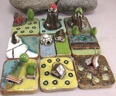 Ceramic tile village/landscape   RESERVED for carolestitches RESERVED by elukka on Etsy