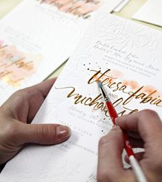 Rose Gold Foil and Blind Letterpress #watercolor floral wedding invitations Momental Designs