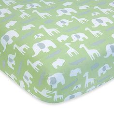 Create the nursery of your dreams with the Wendy Bellissimo Mix & Match bedding separates and room decor. This elegant Safari Fitted Crib Sheet features jungle animals in white and green.