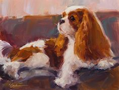 Watchful fine art pigment print on canvas by Lindsey Bittner Graham, giclee on canvas, 8 x 10 Cavalier King Charles, King Charles Dog, King Charles Spaniel, Dog Portraits, Animal Paintings, Dog Art, Dog Life, Canvas Prints, Fine Art