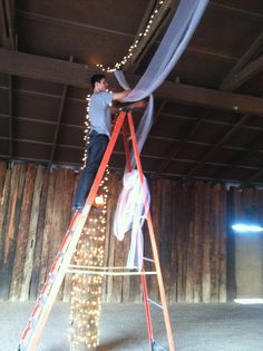 Decorating the barn for a wedding