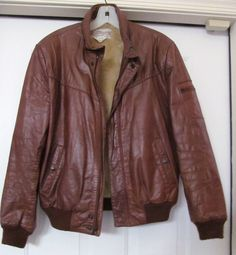 CHESS KING VINTAGE BROWN LEATHER LINED BOMBER JACKET - SZ 40 -GORGEOUS!!