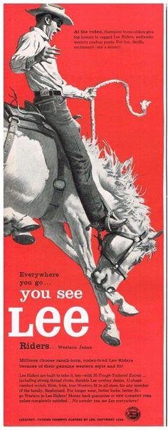 Original LEE DENIM JEANS RIDERS RODEO COWBOY BRONCO 1950s Vintage Print Ad SSV | eBay
