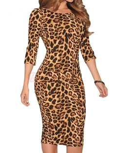 Fashion Women O-Neck Half Sleeve Hollow Out Back Leopard Printed Slim Bodycon Dress on buytrends.com