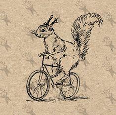 Vintage Squirrel Bike Bicycle Instant Download Digital by UnoPrint