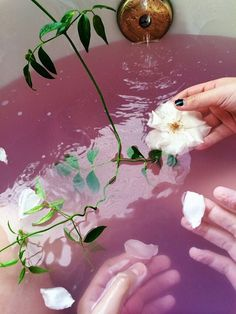 Pink bathwater & flowers