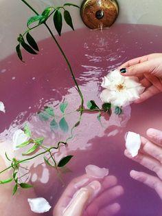 Pink bathwater & flowers