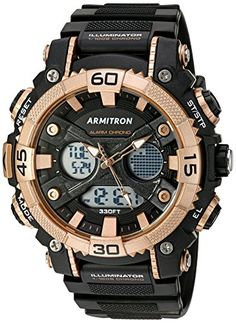 Armitron Sport Men's Analog-Digital Chronograph Rose Gold-Tone and Black Resin Strap Watch >>> Read more at the image link. Dream Watches, Sport Watches, Luxury Watches, Watches For Men, Wrist Watches, Mens Outdoor Clothing, Mens Fashion Shoes, Sport Man, Outdoor Outfit