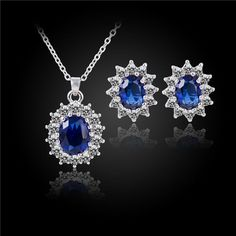 Silver Blue Crystal Jewelry Sets