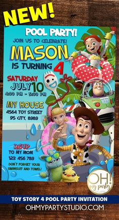 Precious Tips for Outdoor Gardens In general, almost half of the houses in the world… Pool Party Invitations, Digital Invitations, Birthday Invitations, Invite, Woody Party, Diy Projects For Beginners, Toy Story Party, Fun Hobbies, 4th Birthday Parties