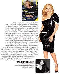 Maison Ernest avec Kylie Minogue dans le ELLE du 20 mai 2016  www.maisonernest.com