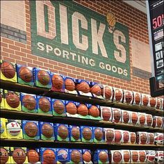 Seeing this Dick's Wall of Basketballs Mass Merchandising, who knew there could be so many ball choices. Shooting hoops informally in an alleyway, we used. Close Up, Broadway Shows, Basketball, Display, Wall, Floor Space, Billboard, Netball