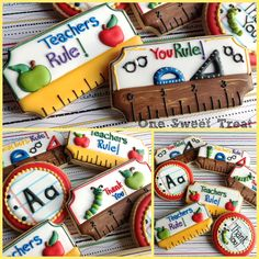 Best Cupcakes Decoration For Kids Teacher Appreciation Ideas Cookies For Kids, Fancy Cookies, Iced Cookies, Cute Cookies, Holiday Cookies, Cupcake Cookies, Sugar Cookies, Teacher Appreciation Gifts, Teacher Gifts