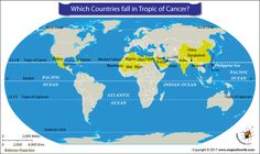 The Tropic of Cancer passes through a total of 17 countries.Read this article to know what is Tropic of Cancer and through which countries it passes. World Map Showing Countries, How Many Countries, Equator Map, International Date Line, Antarctic Circle, India Map, India Travel, Gulf Of California, Egypt Map